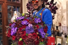 Philipp Kirkorov with a fabulous bouquet of hydrangea, Wanda Orchid, one-headed rose, leucadendron and oak leaf.